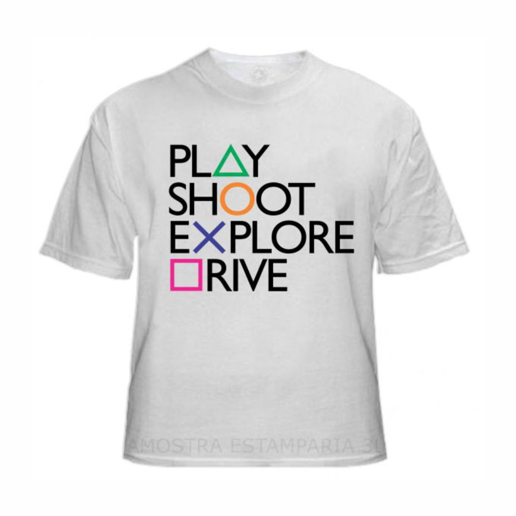 Camisa Geek Playstation Play, Shoot, Explore, Drive - GG Adulto
