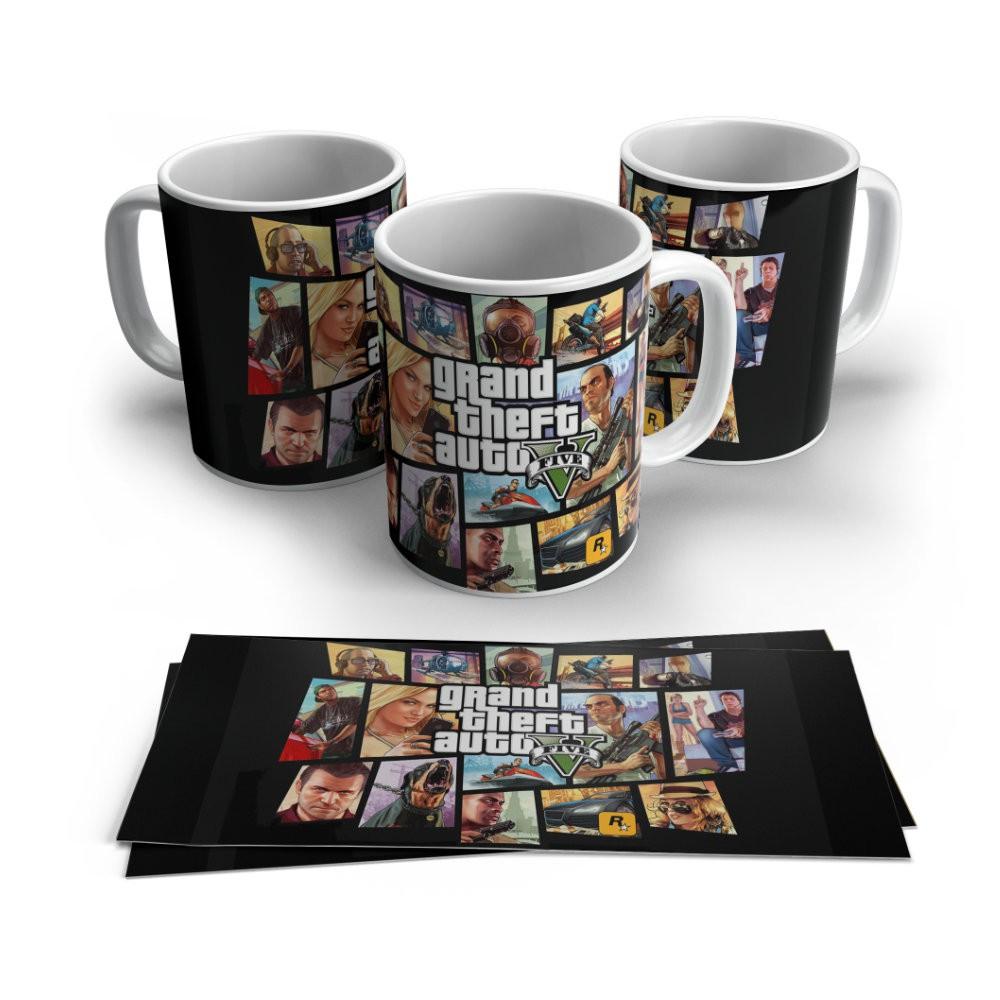 Caneca Cerâmica Branca Grand Theft Auto GTA V - 350ML