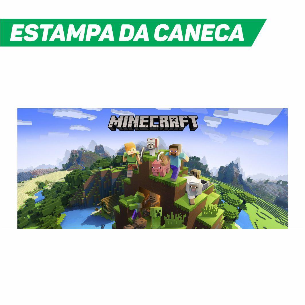 Caneca Cerâmica Branca Minecraft
