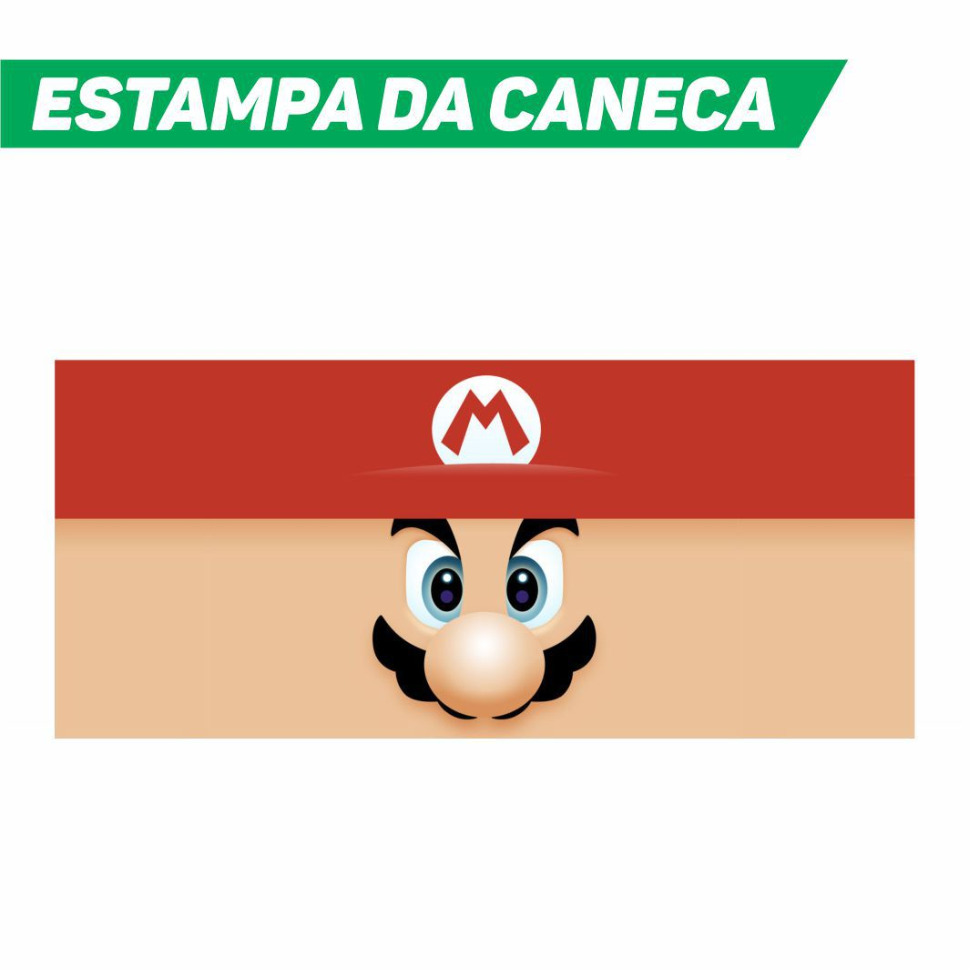 Caneca Cerâmica Branca Super Mario