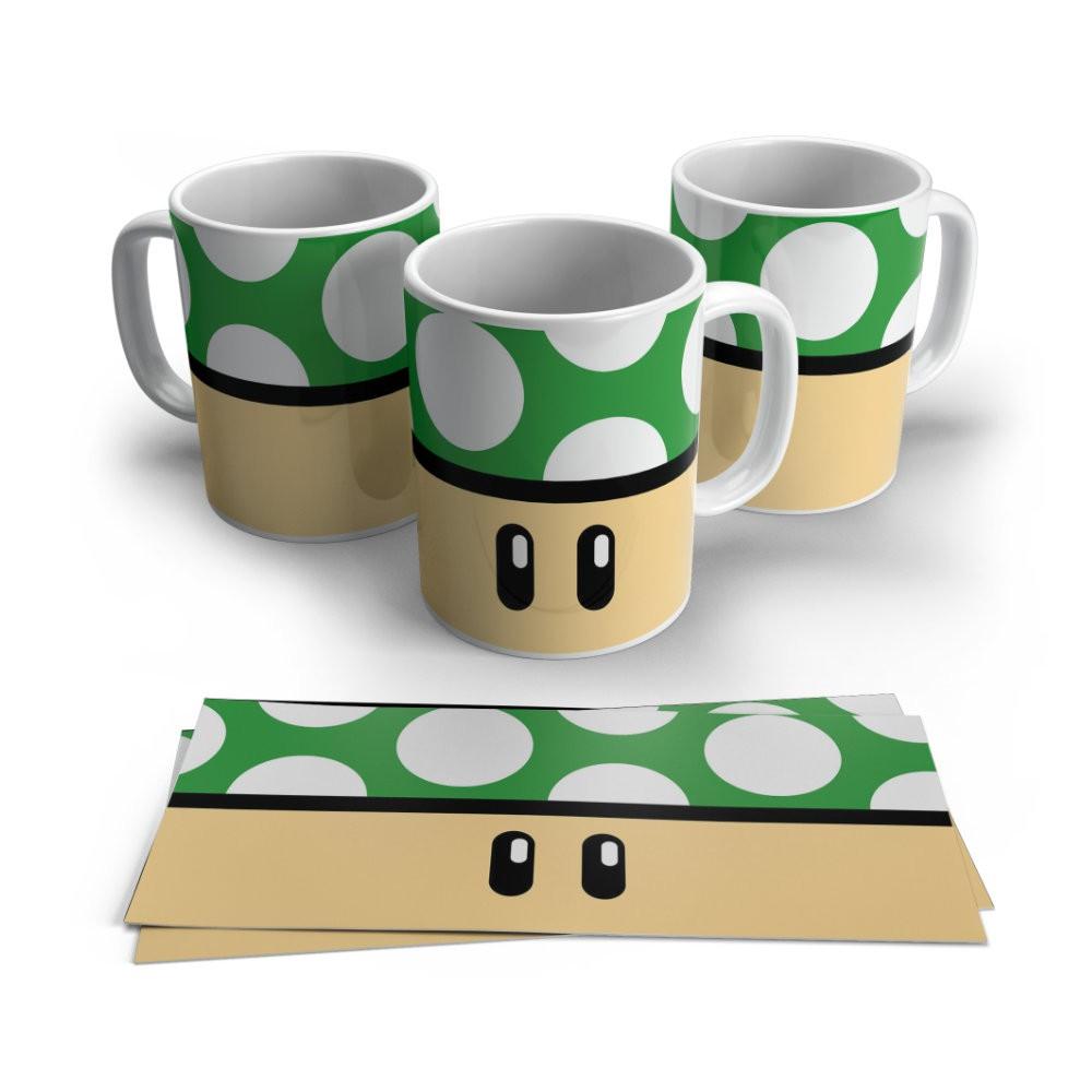 Caneca Cerâmica Branca Cogumelo Verde - Super Mario - 350ML