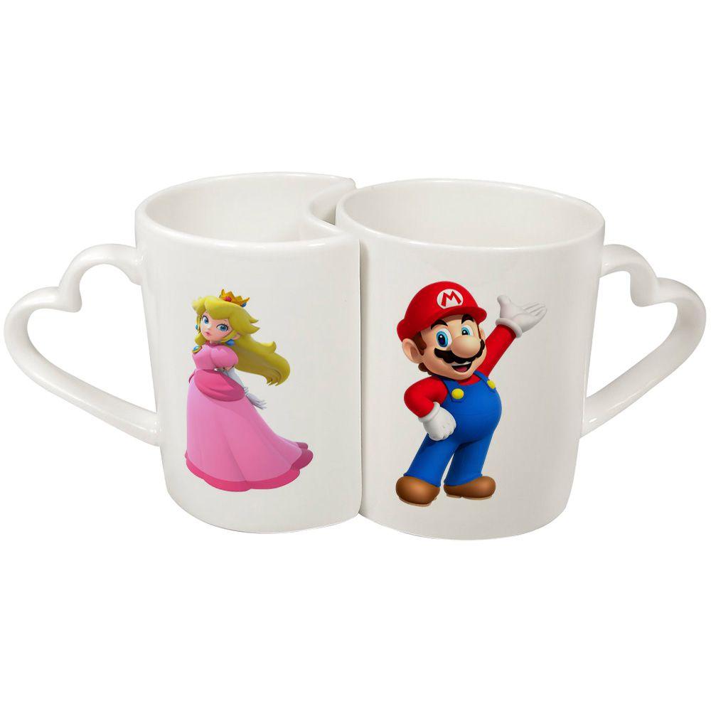 Caneca Cerâmica Casal Mario e Peach - Super Mario - 350ML