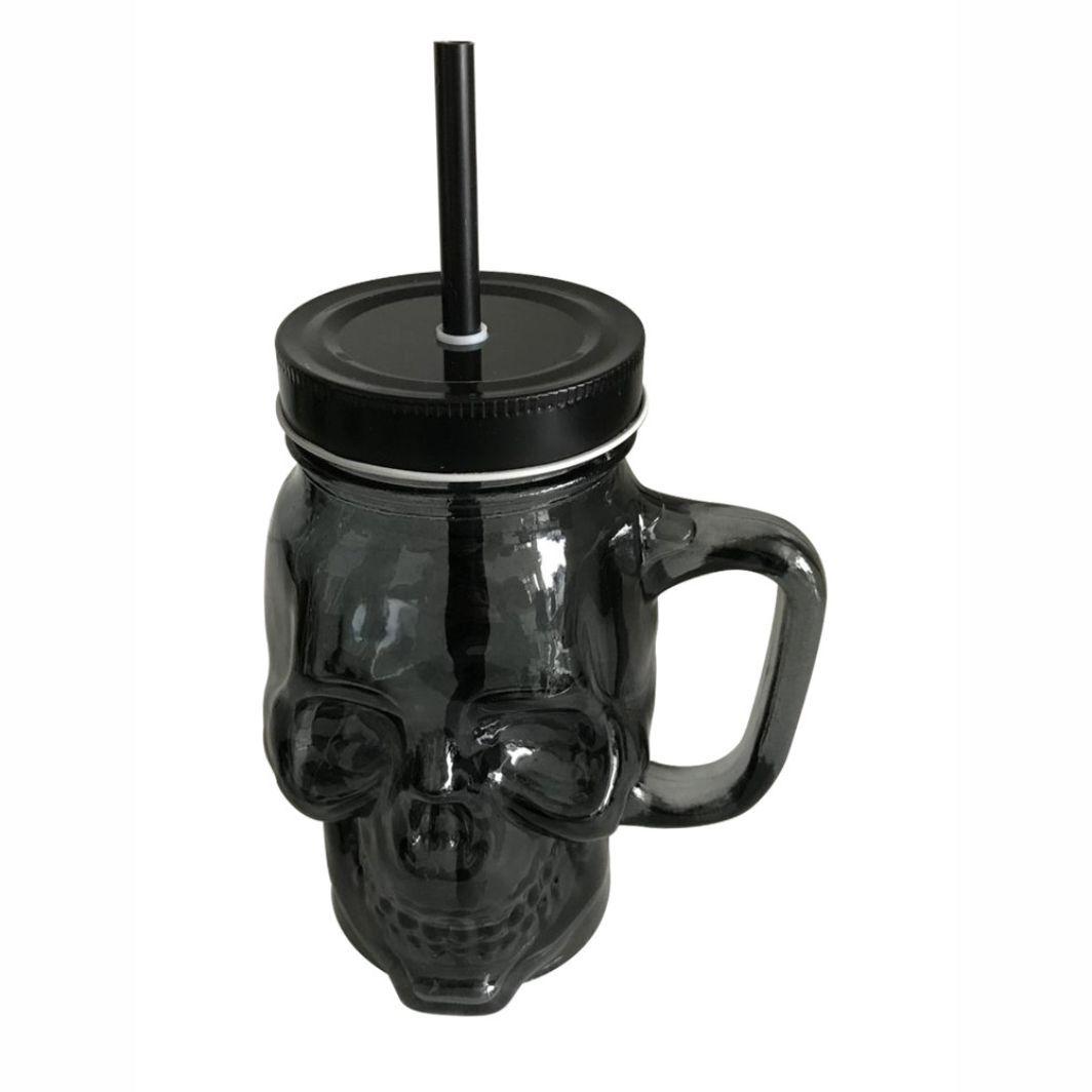 Caneca de Vidro Caveira Skull com tampa e canudo - Preto