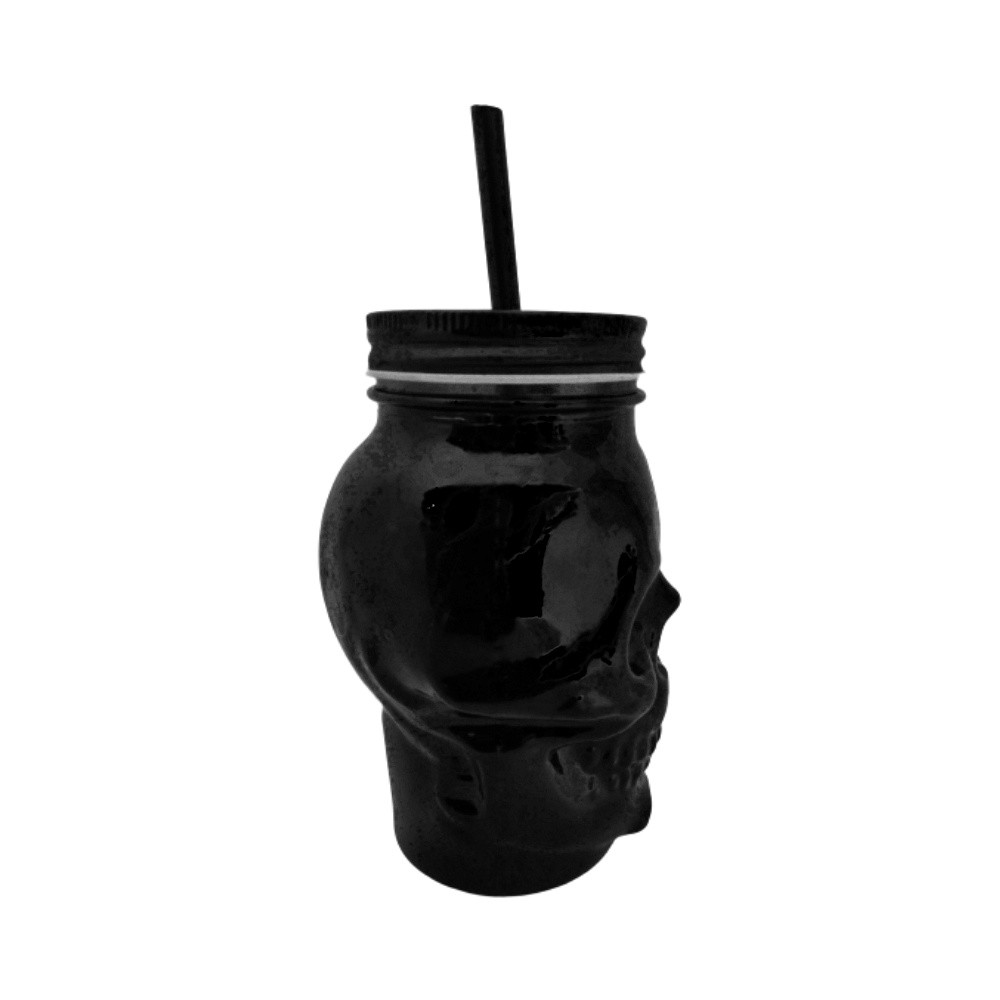 Caneca Vidro Preto Caveira - Skull Mug - Com Tampa E Canudo - 450ML