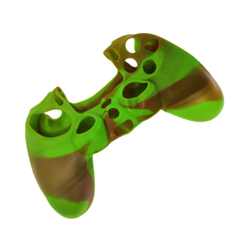 Capa de Silicone para Controle PS4 - Verde e Marrom