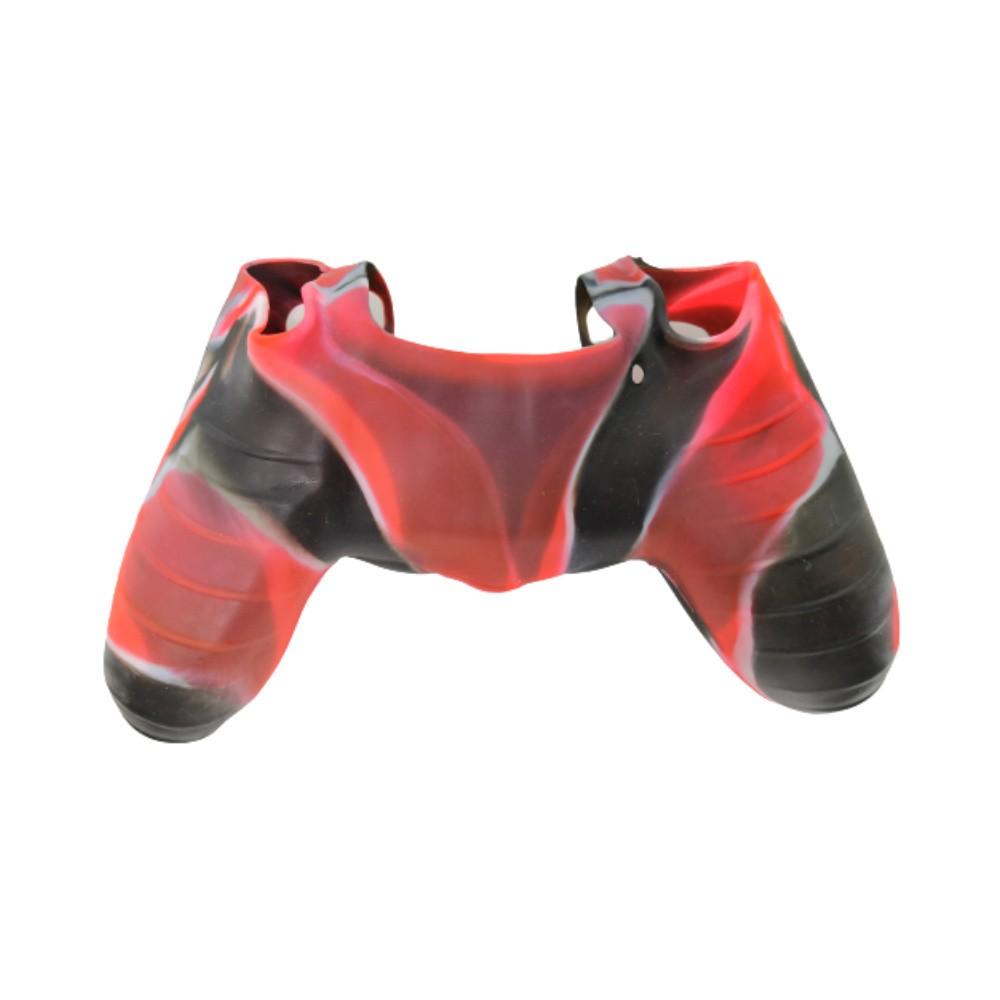 Capa de Silicone para Controle PS4 - Vermelho, Preto e Branco