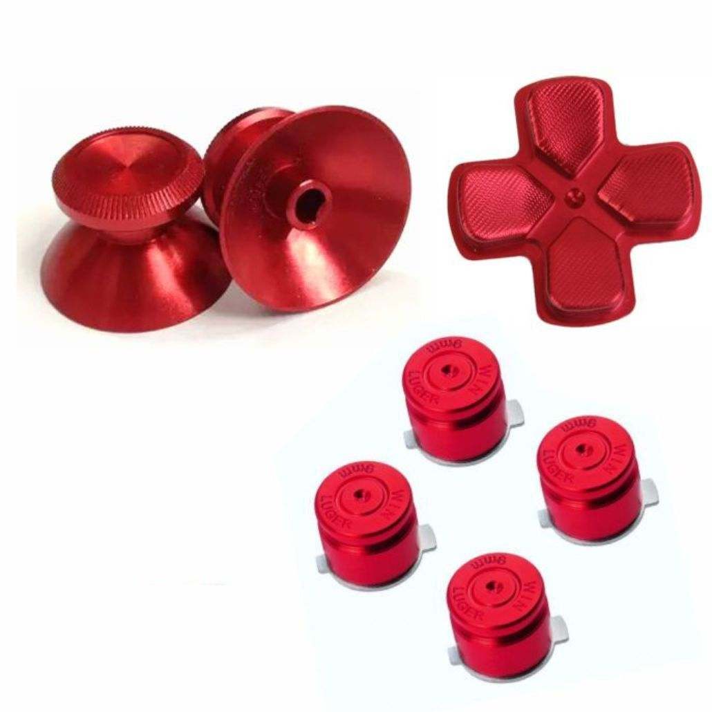 Conjuto Botões Alumínio Vermelho Dualshock 4