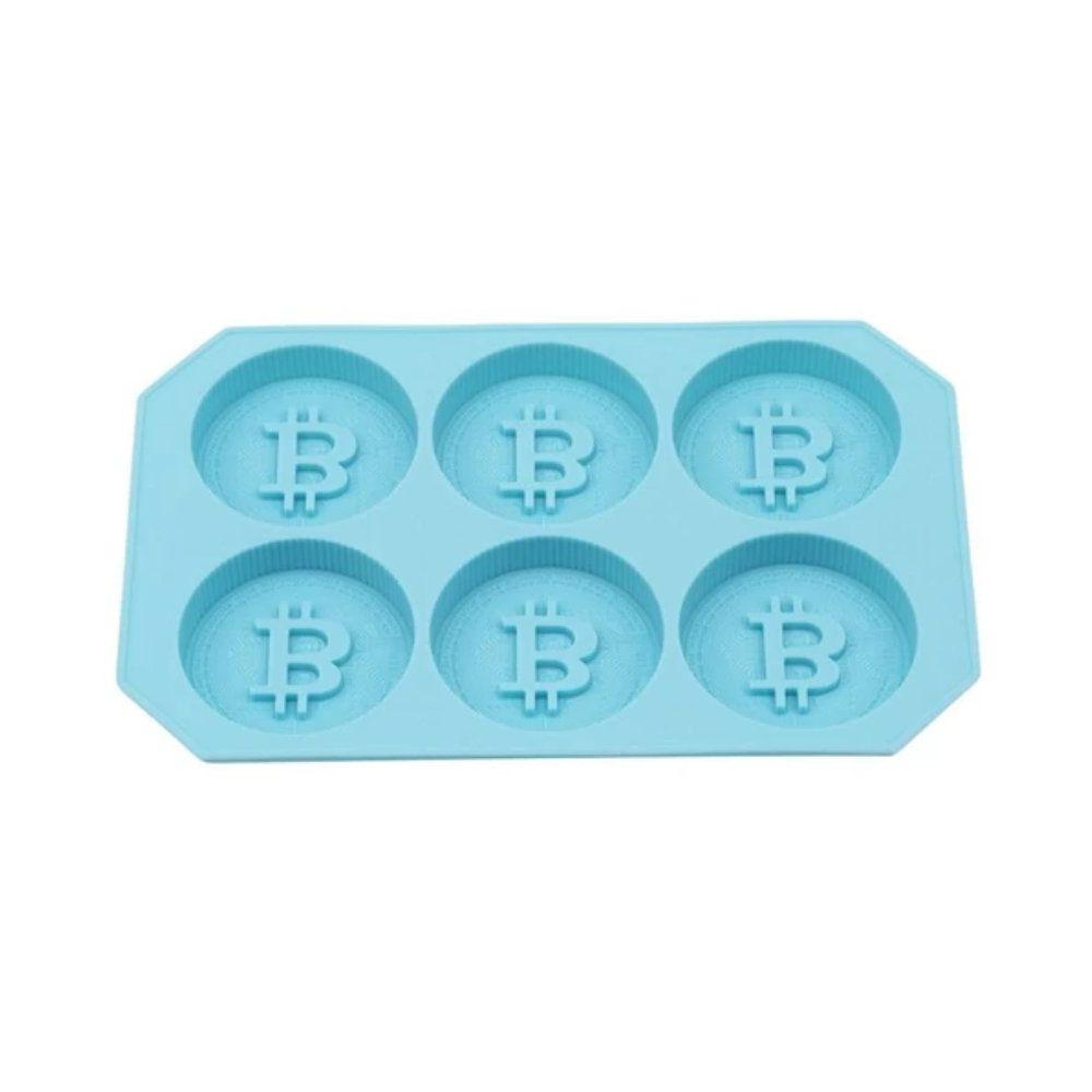 Forma de Gelo Bitcoins - Silicone - Azul
