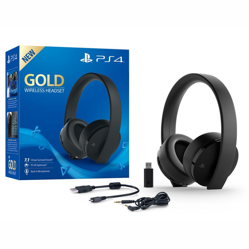 Gold Wireless Stereo Headset 7.1 (Sony) - PS3 / PS4 / PS Vita / PC / Mac Modelo 2018