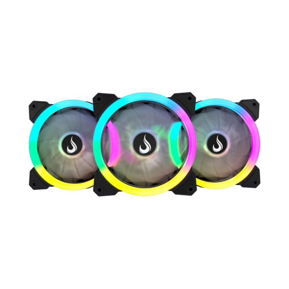 Kit com 3 Fans Coolers Rise Smart, Dual Led, RGB 120mm RM-FN-02-RGB