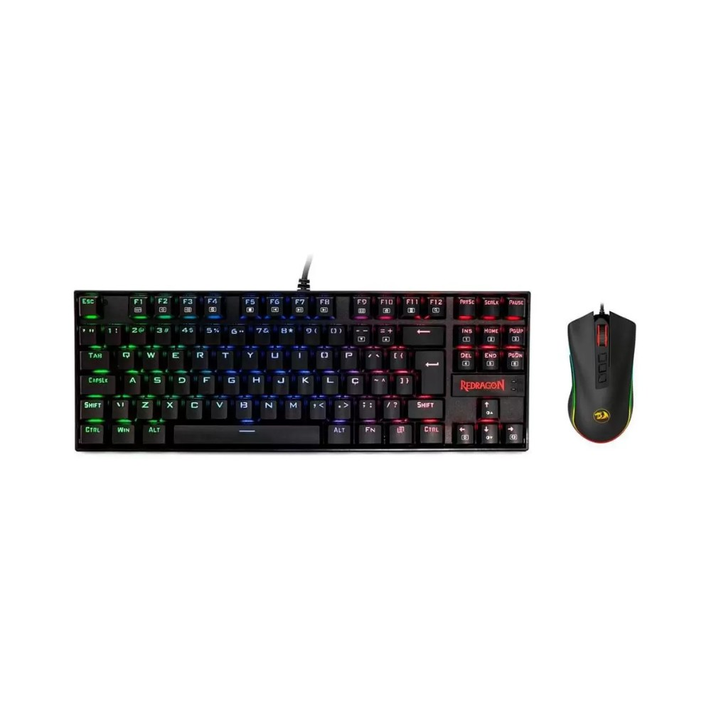 Kit Gamer Redragon - Teclado Mecânico Kumara, RGB + Mouse Cobra