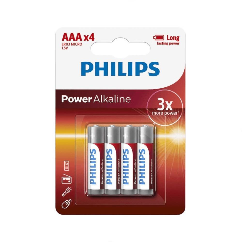 Pilha Philips Alcalina AAA 4 Pilhas