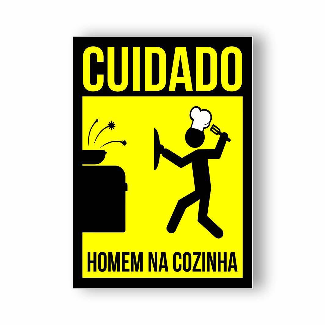 Placa Decorativa PVC Cuidado Homem na Cozinha - 20x14