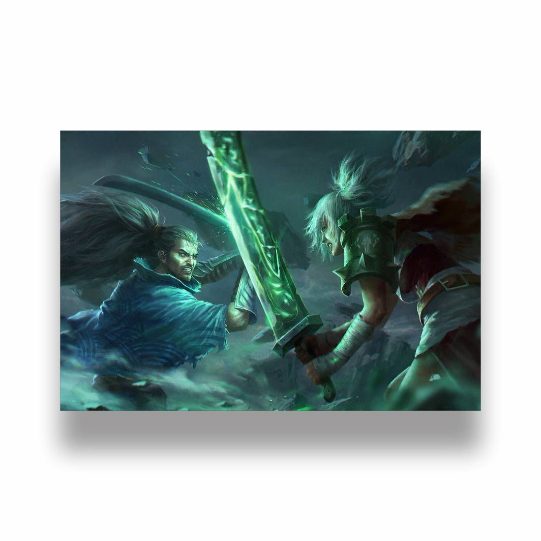 Placa Decorativa LOL Yasuo vs Riven - PVC - 30x20cm