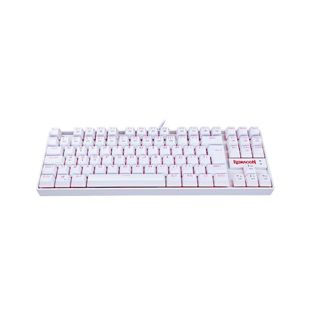 Teclado Mecânico Redragon Kumara Branco LED Vermelho - Switch Marrom