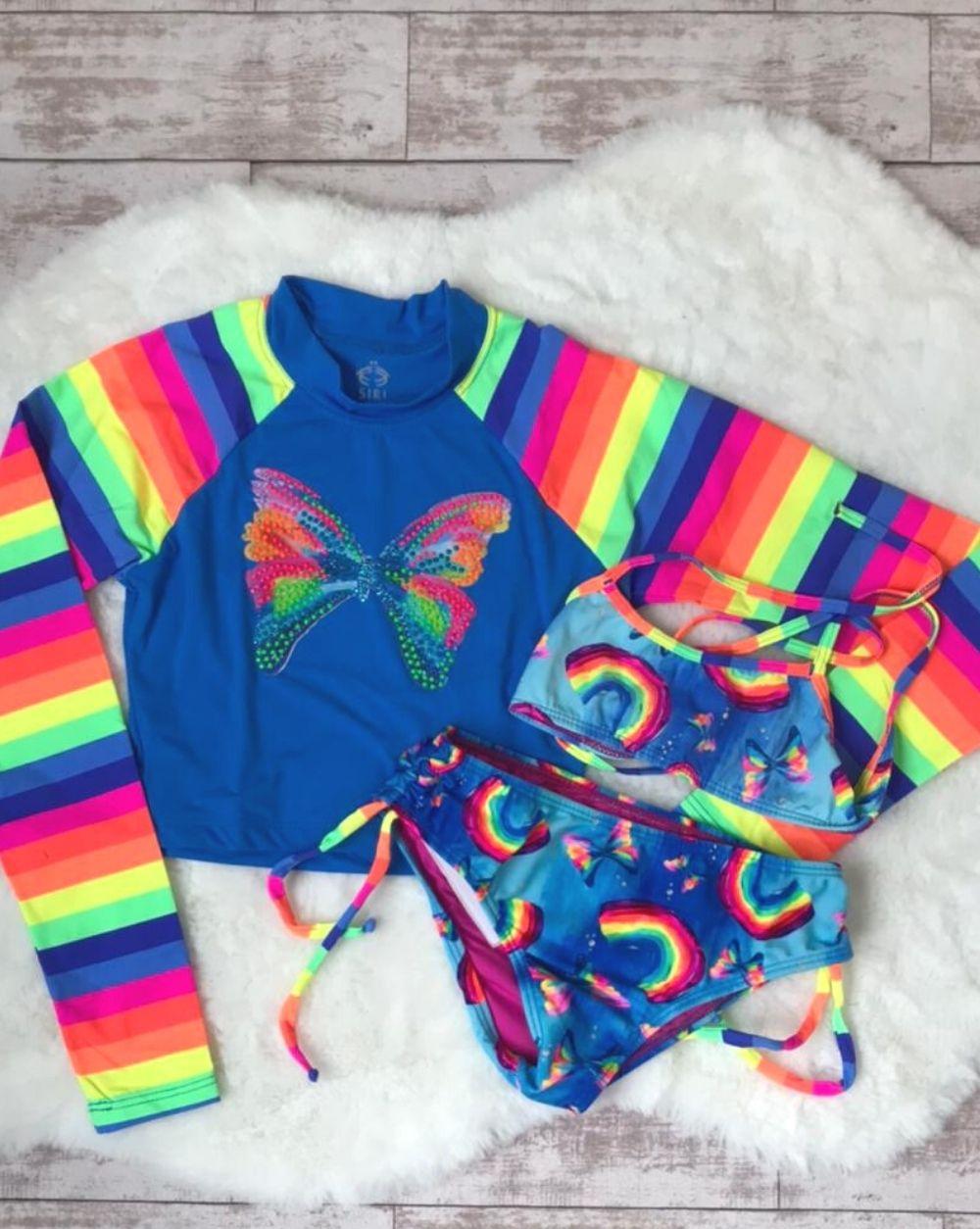 Biquíni Arco Íris Borboleta 3 Siri Kids Moda Praia