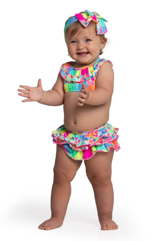 Biquíni Baby com faixa Coração Siri Kids