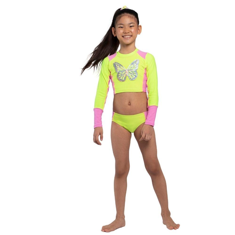Biquíni Cropped  Borboleta Siri Kids Moda Praia Infantil
