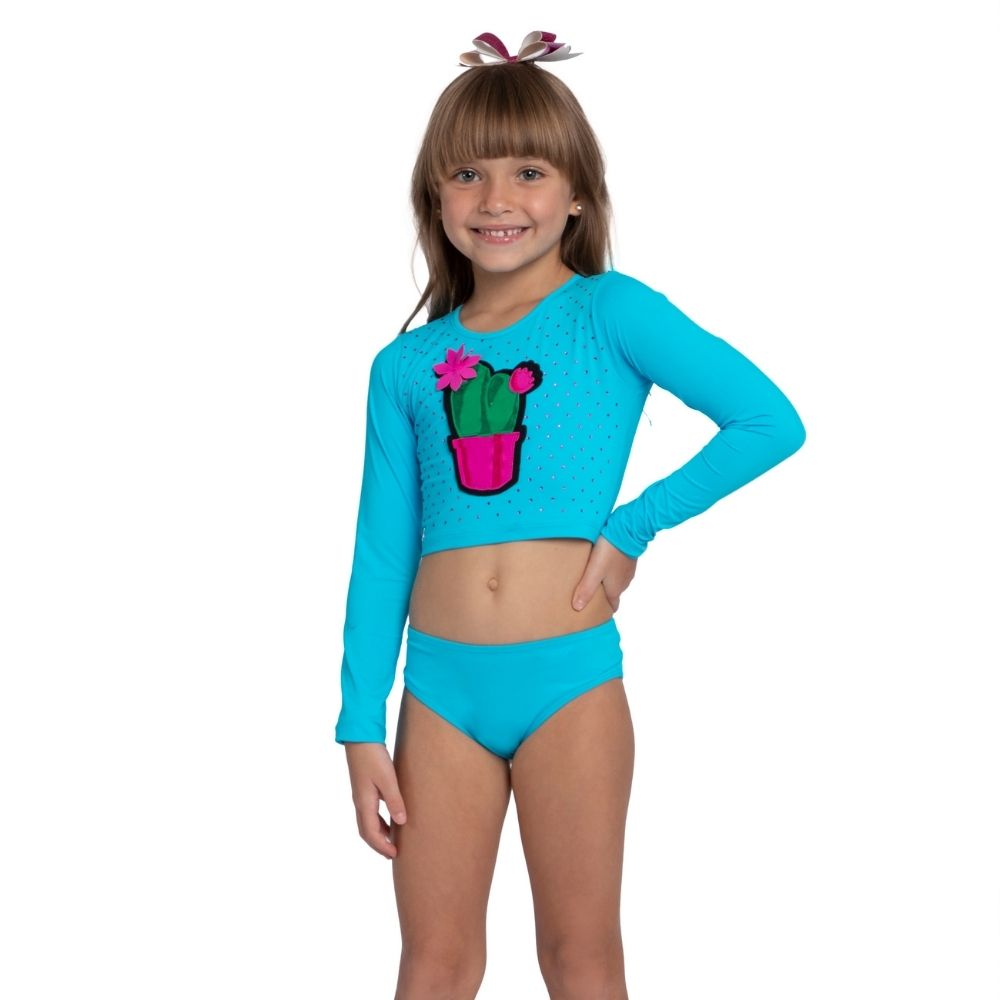 Biquíni Cropped Cactos Lari Siri Kids Moda Praia Infantil