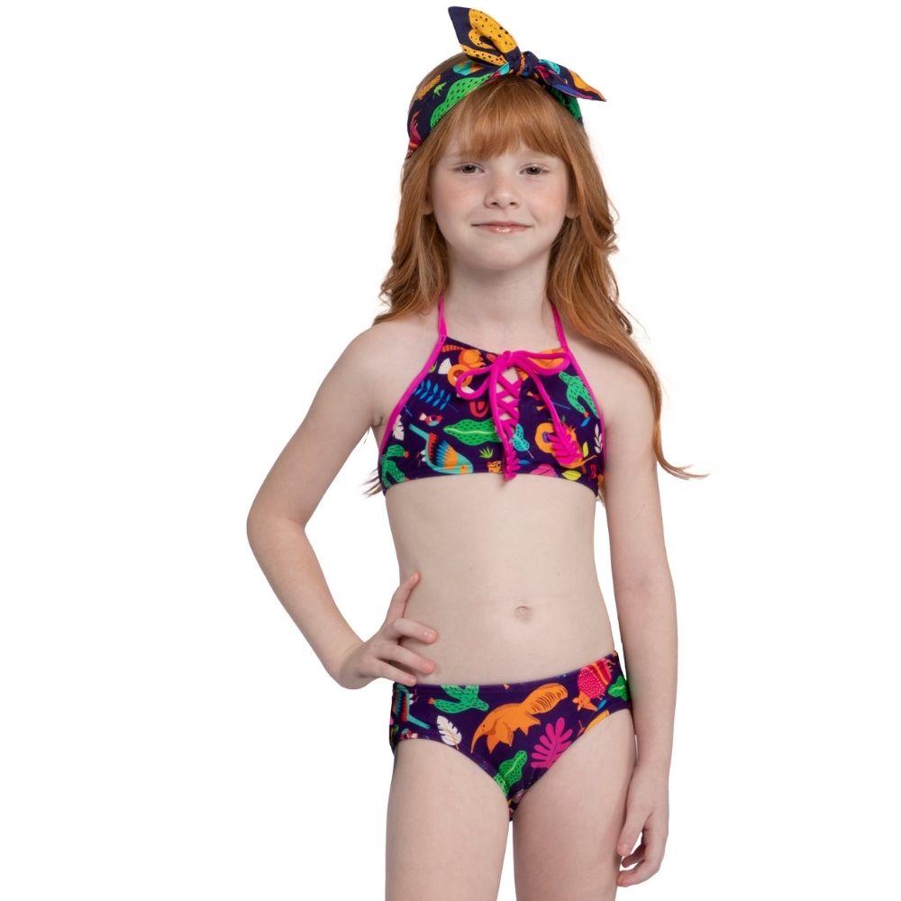 Biquíni Cropped Pantanal Siri Kids Moda Praia Infantil