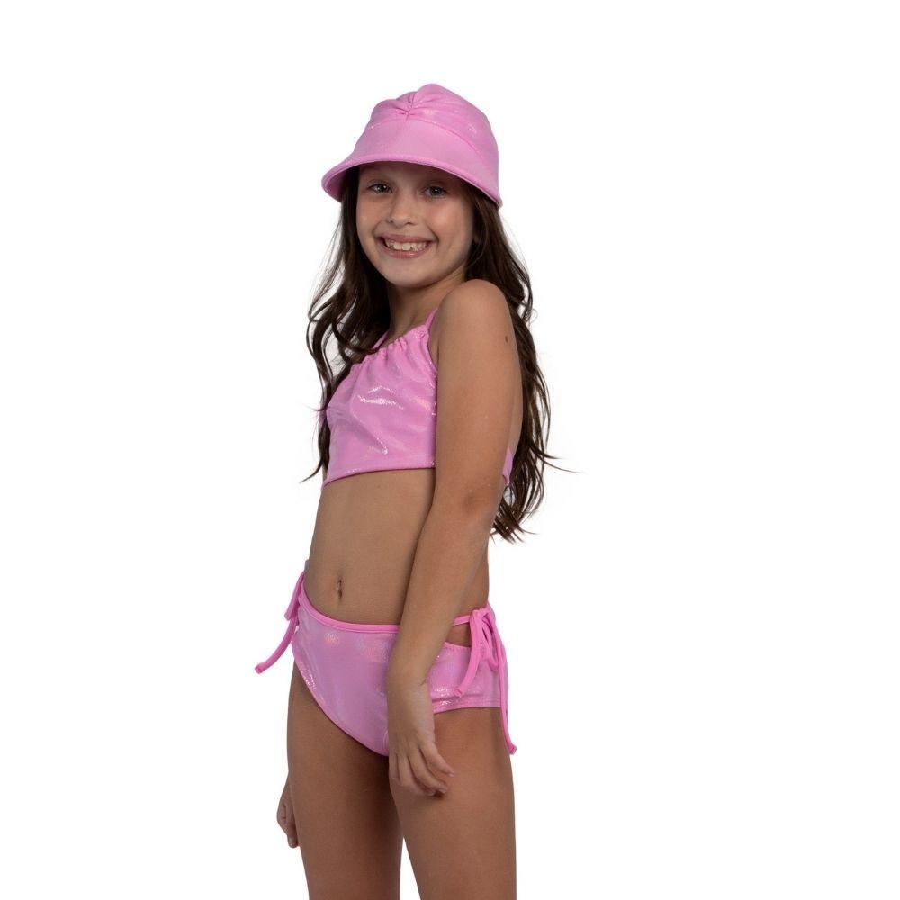 Biquíni Cropped Pink Siri Kids Moda Praia