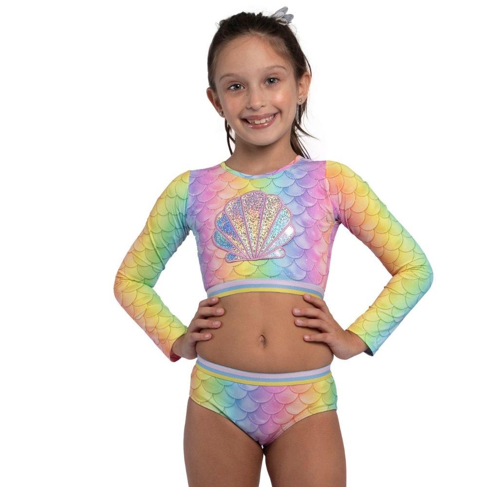 Biquíni Cropped Sarita  Sereia Siri Kids Moda Praia Infantil