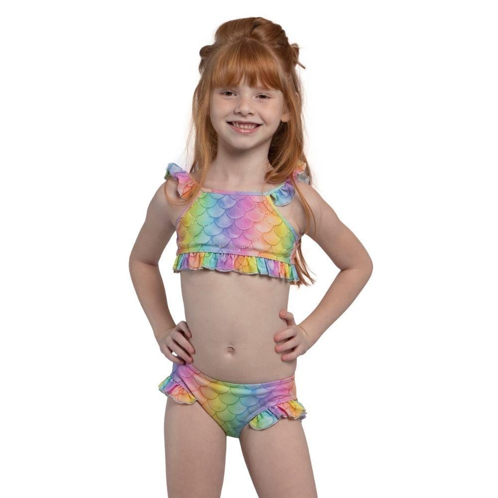 Biquíni Cropped Sereia Cintia Shine Siri Kids Moda Praia