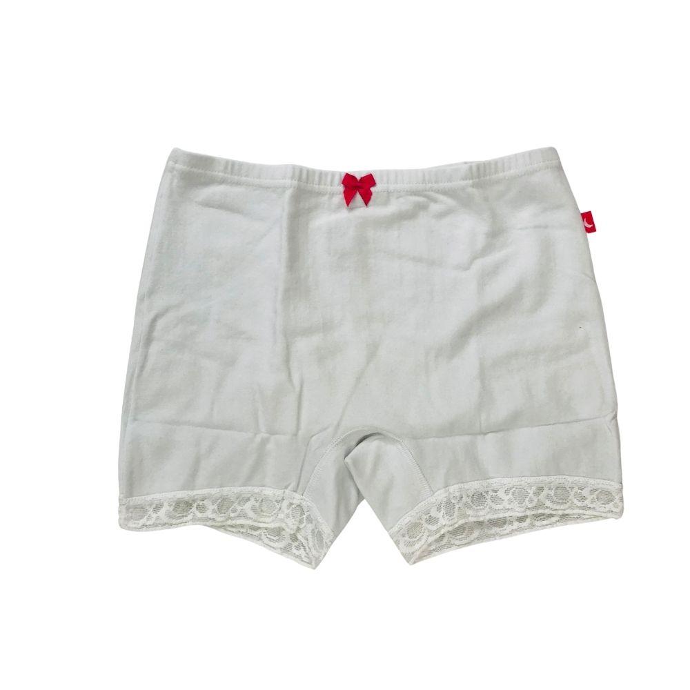 Calcinha Boxer Branca com Renda