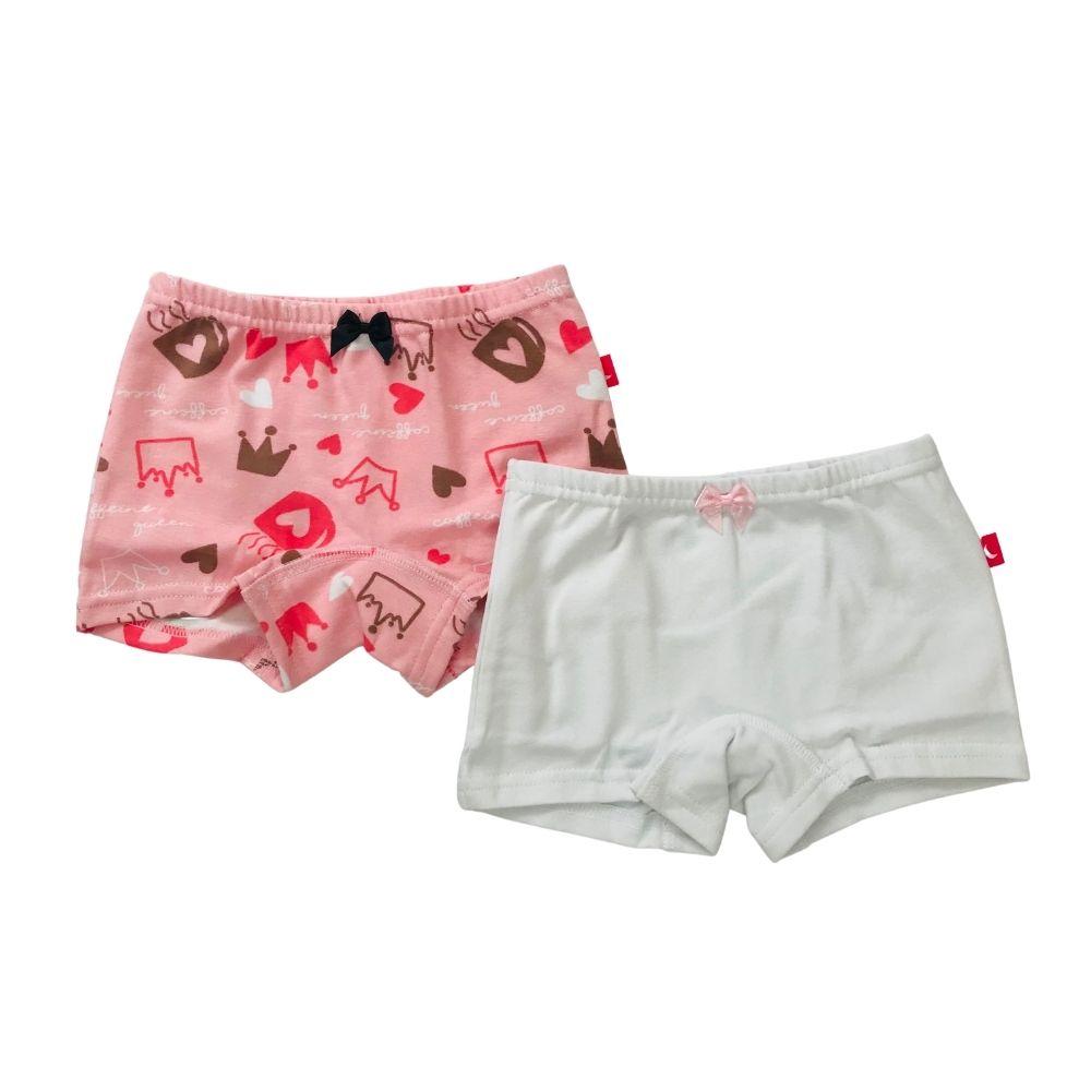 Calcinha Kit Boxer Coroa, Coração e Branca Algodão Infantil