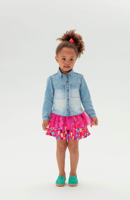 Camisa Jeans Arraia Mon Sucre Infantil