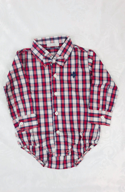 Camisa Social Vermelha Xadrez Bilu Teteia
