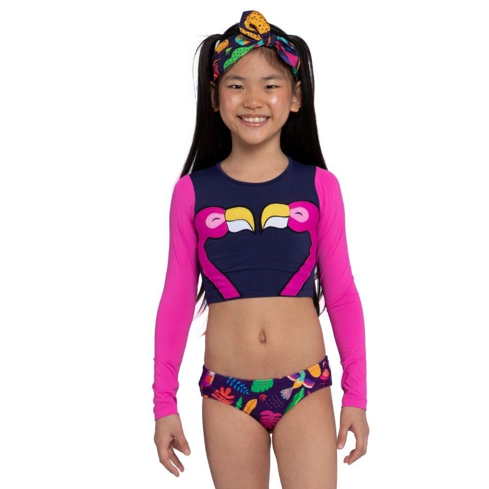 Biquíni 3 peças Cropped Lara Siri Kids Moda Praia Infantil