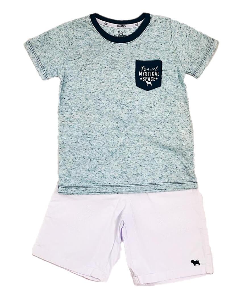 Conjunto Camiseta Linho e Bermuda Sarja Charpey Infantil