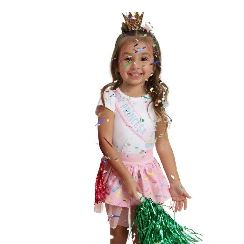 Conjunto Princesa Verão Bloco de Carnaval com Coroa Mon Sucre Infantil