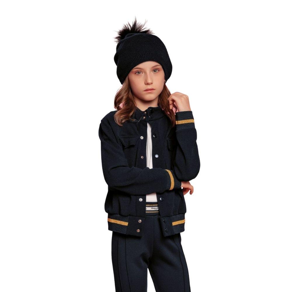 Jaqueta Preta em Crepe Charpey Infantil