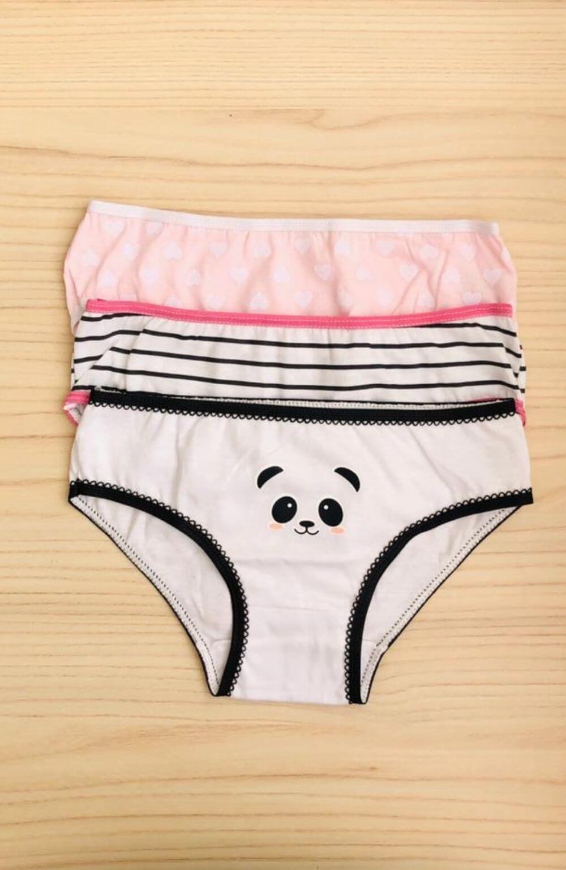 Kit 3 Calcinhas Panda Algodão Infantil