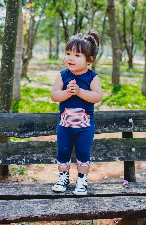 Macacão Azul Listrado Trapinhos Kids Infantil