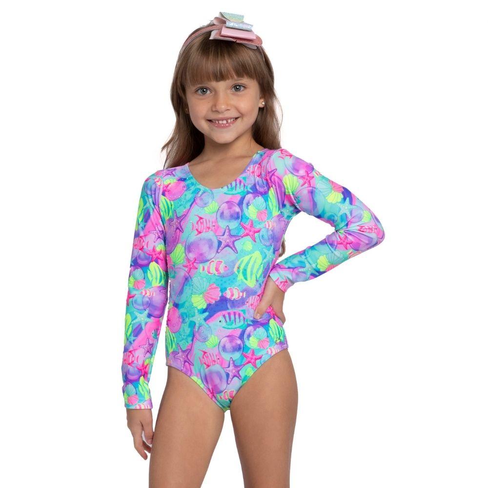 Maio Body Fundo do Mar Siri Kids Moda Praia Infantil