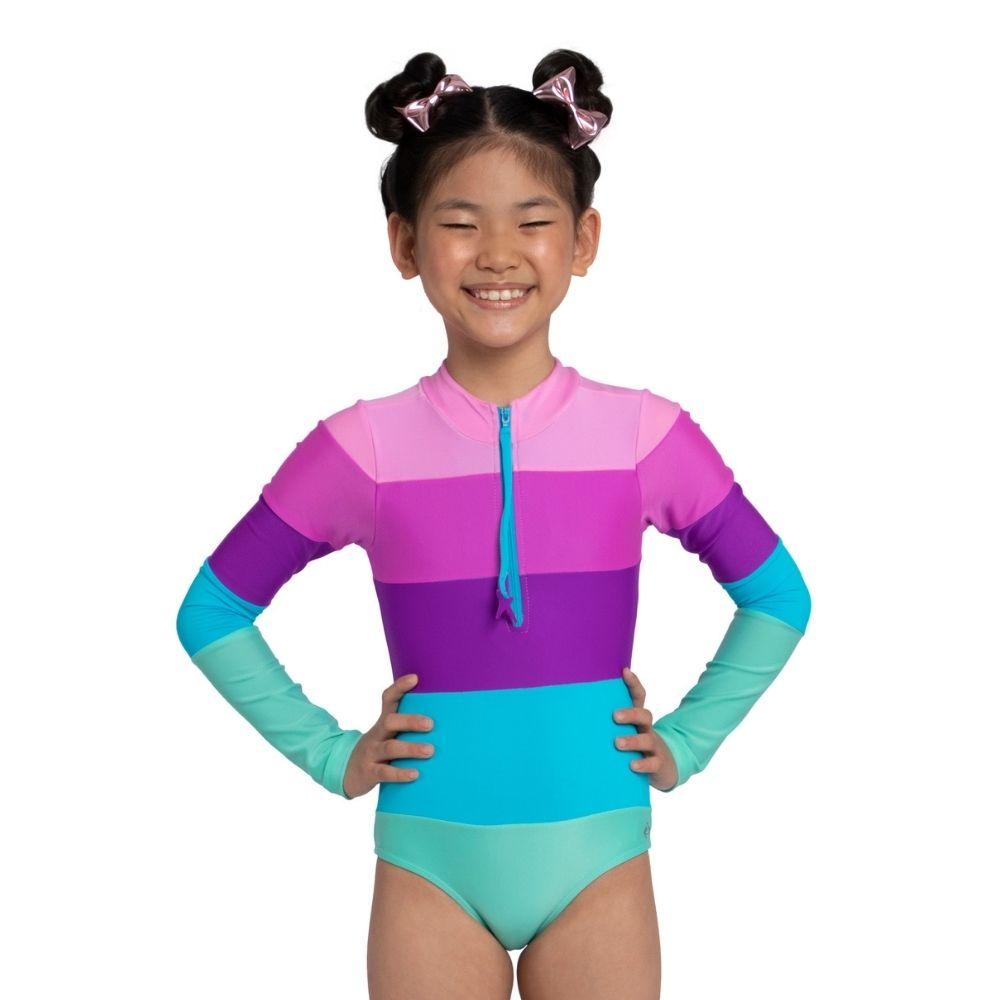 Maiô Body Kiara Lilás Siri Kids Moda Praia Infantil