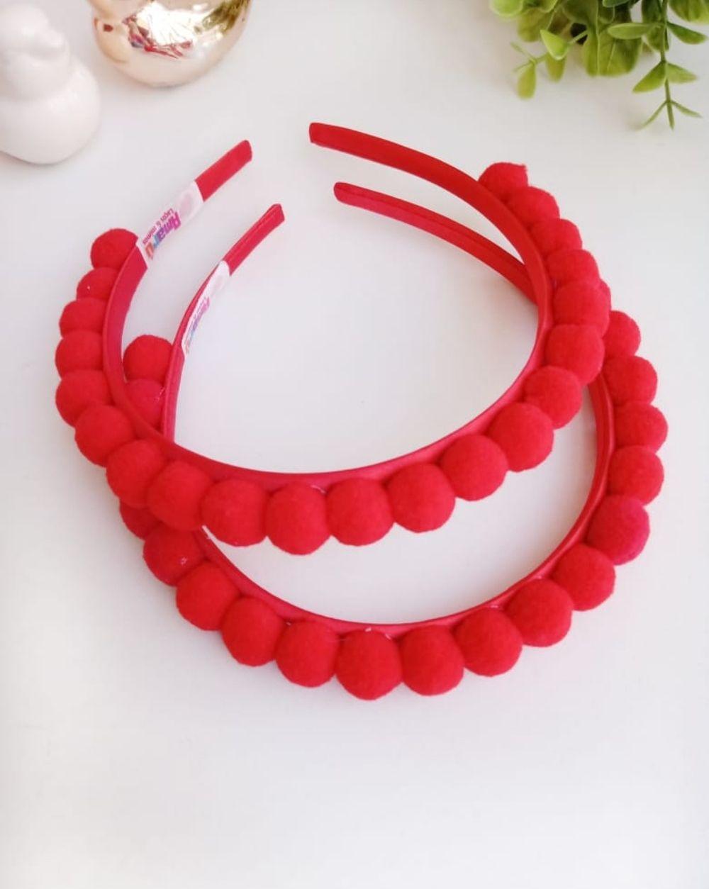 Tiara Vermelha com Pompom