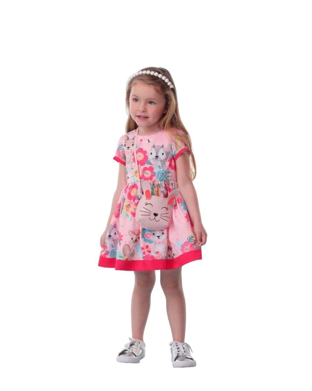 Vestido Animais com Bolsa Coelho Mon Sucre Infantil