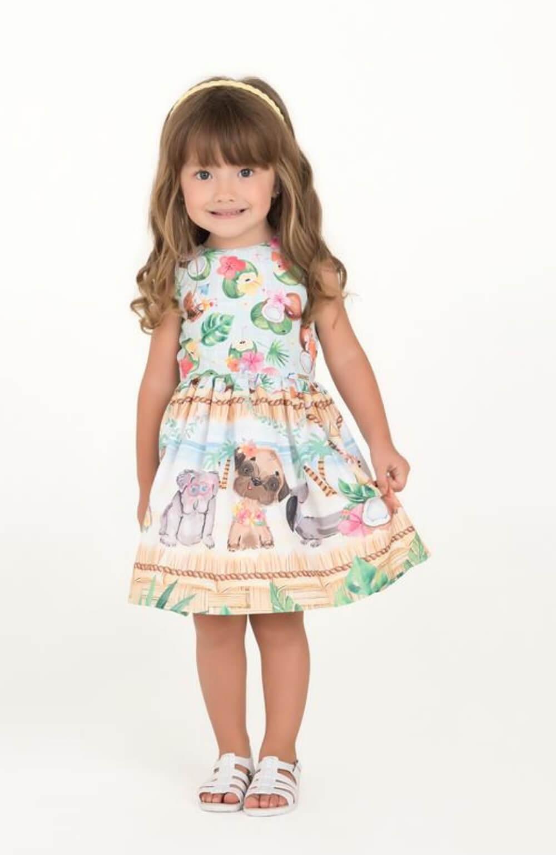 Vestido Animais Praianos Mon Sucre Infantil