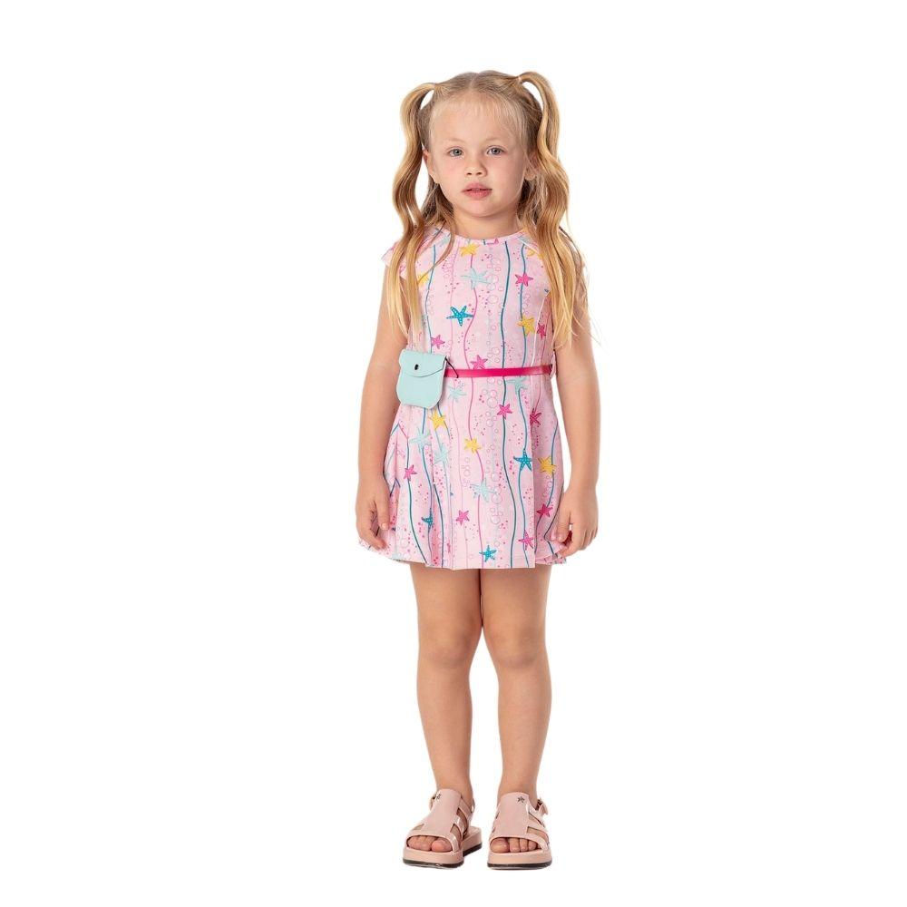 Vestido Aquarium com Pochete Mon Sucre Infantil