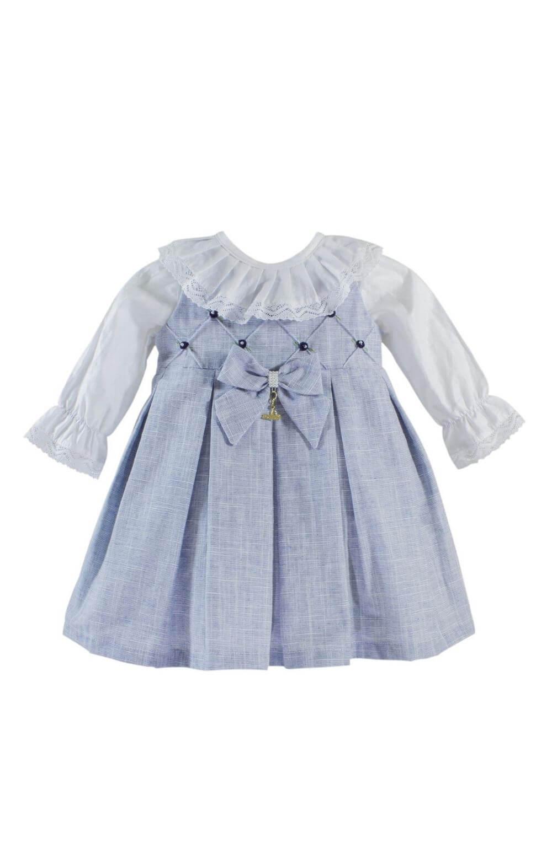 Vestido Azul com Rococó e Touquinha Roana Acessórios