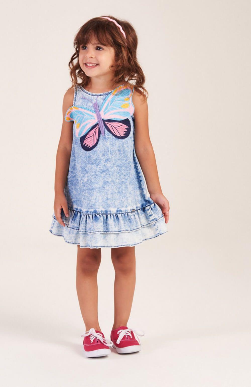 Vestido Borboleta Jeans Mon Sucre Infantil