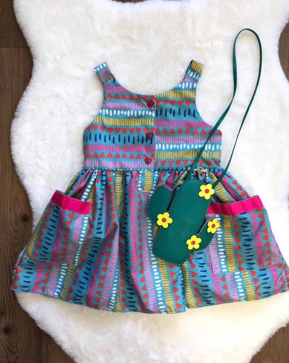 Vestido Cacto com Bolsa Mon Sucre Infantil