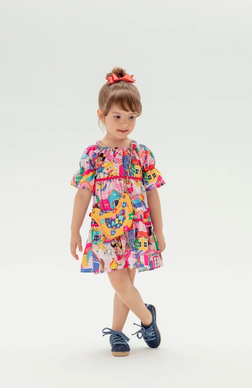 Vestido com Bolsa Julina Mon Sucre Infantil