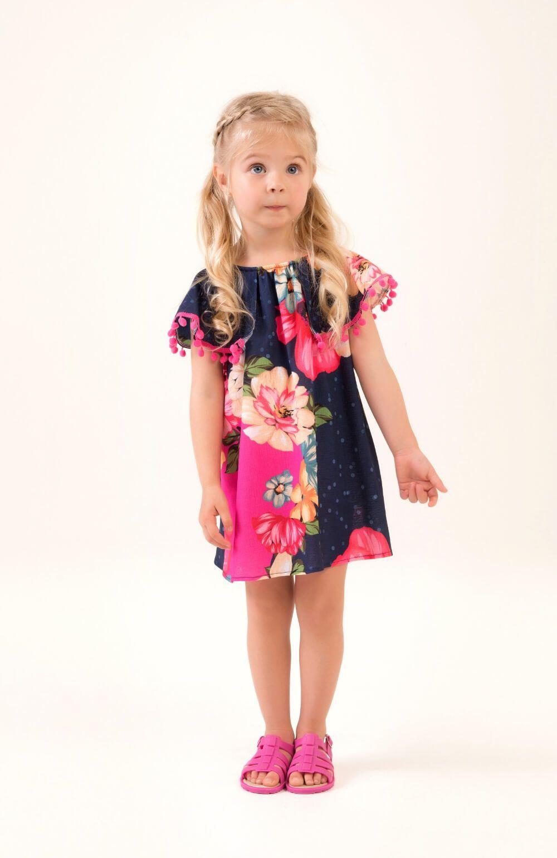 Vestido Floral com Pompom Mon Sucre Infantil