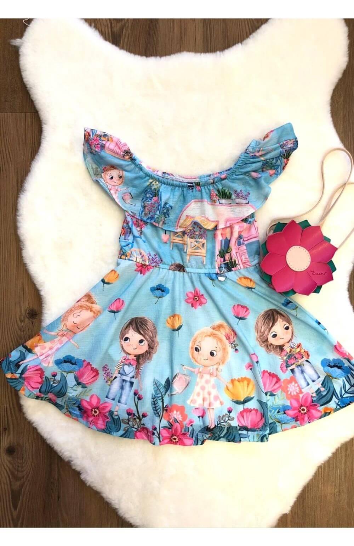 Vestido Flores com Bolsa Mon Sucre