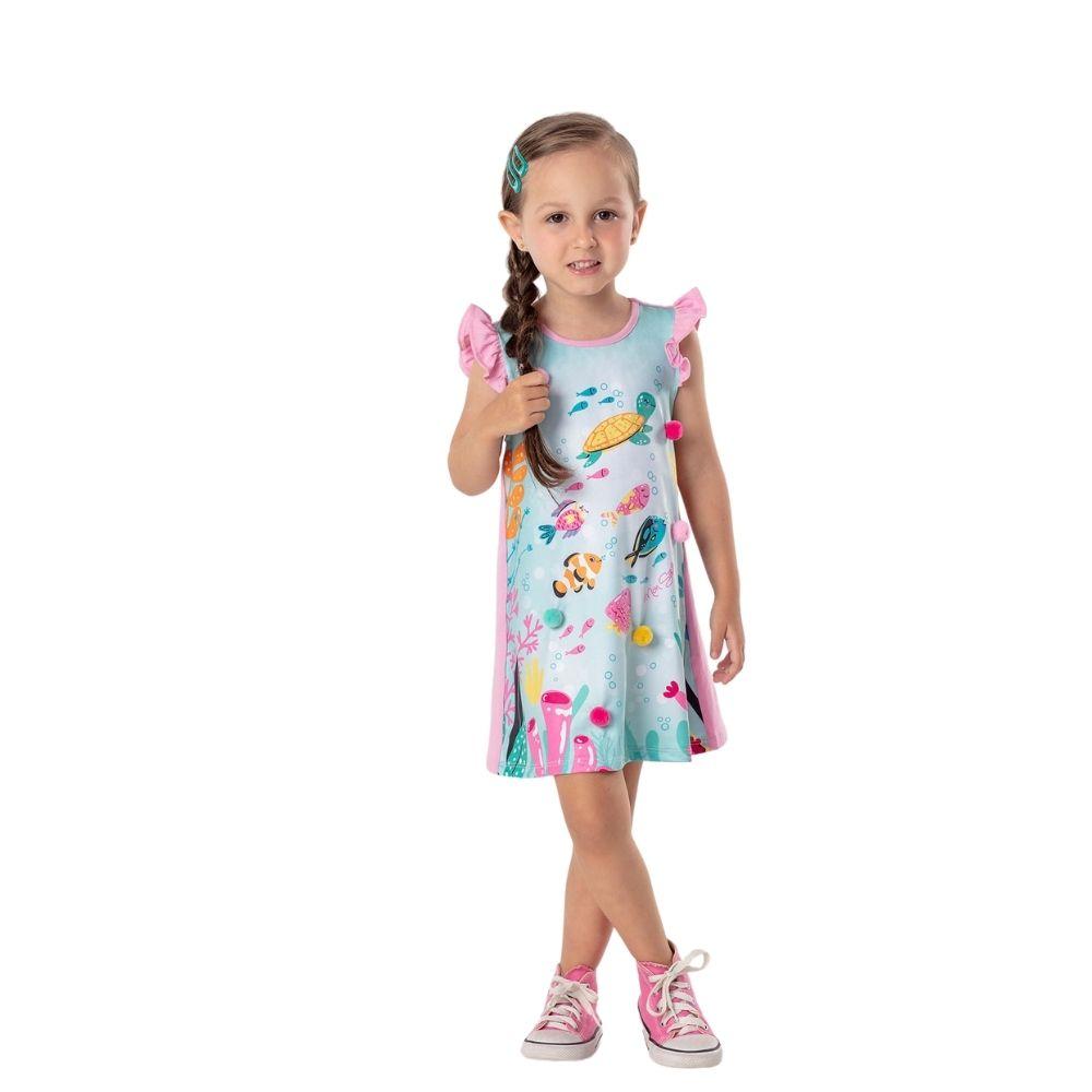 Vestido Fundo do Mar com Pompom Mon Sucre Infantil